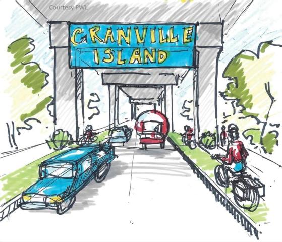 Ébauche conceptuelle du projet de « rue complète » pour la rue Anderson (ébauche PWL, tirée de la Foire Penser Grand, 10 sept. 2016)