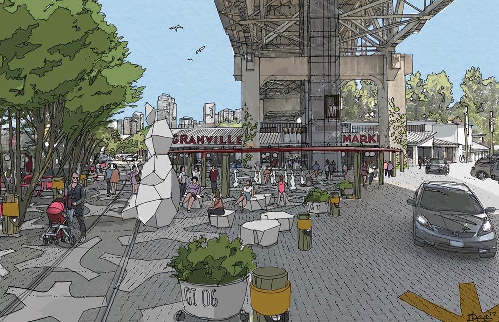 Ébauche conceptuelle de la place centrale proposée (esquisse de PWL, tirée du rapport HCMA Land Use Vision)