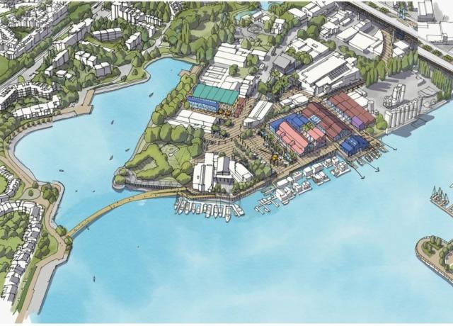 Ébauche conceptuelle du pont pour piétons et cyclistes sur l'Alder Bay (ébauche de PWL, tirée du HCMA Land Use Vision Plan)